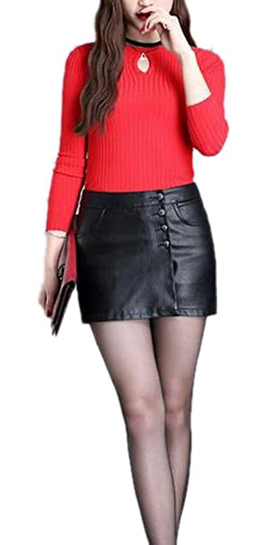 Women Sexy Zip Up Button Down A Line Leather Mini Skirt Shorts With Pocket Black