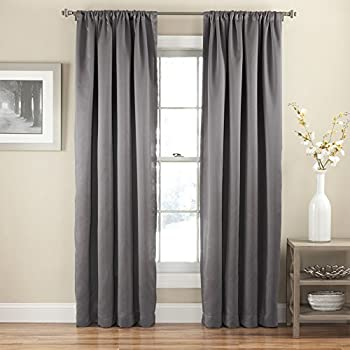 eclipse tricia rod pocket 52inch by 84inch single blackout curtain thermapanel