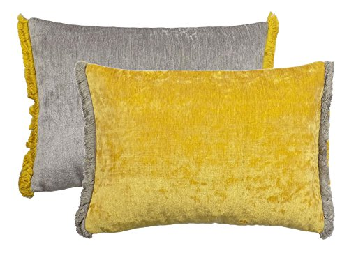 FILLED TWO TONE REVERSIBLE CHENILLE FRINGED YELLOW SILVER 35X50 BOUDOIR CUSHION PILLOW CASE SHAM ()