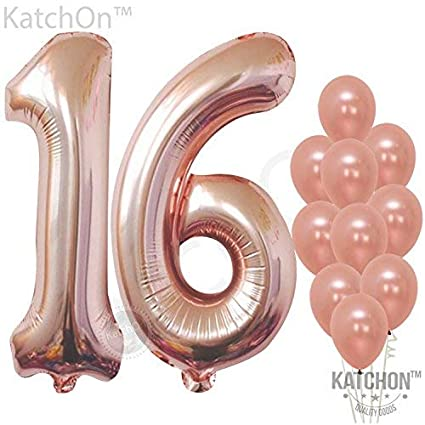 f4bf3647aec Amazon.com  Rose Gold Number 16 Balloons - Large