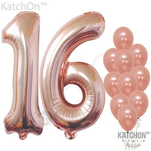 Rose Gold Number 16 Balloons - Large, Pack of 12 | Sweet 16 Party Supplies | 16th Birthday Balloon Numbers Decorations Pack | Foil Mylar and Latex Balloon Rose Gold Decorations Supplies -