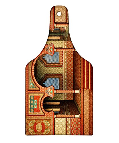 Arabesque Red Wine - Lunarable Arabesque Cutting Board, Middle Eastern Oriental Style Interior Palace Architecture Vintage Art Design, Decorative Tempered Glass Cutting and Serving Board, Wine Bottle Shape, Golden Red