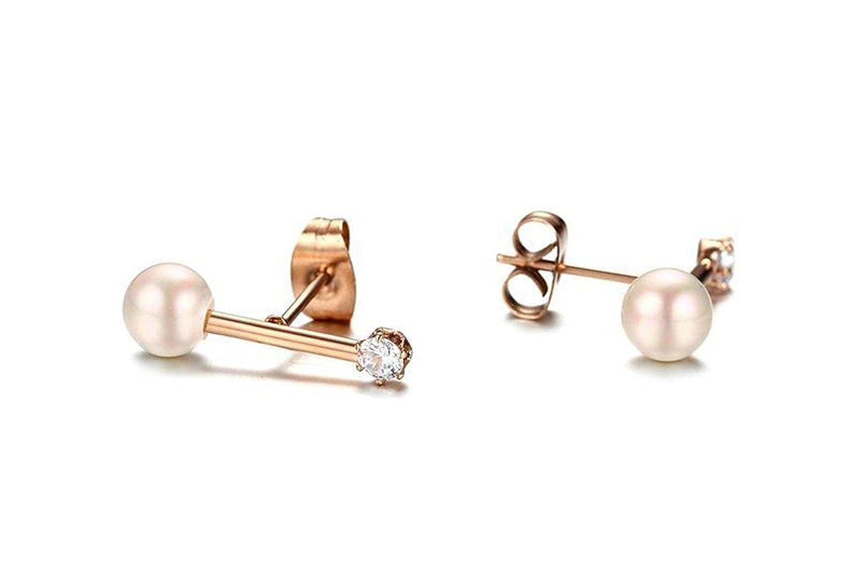 Onefeart Stainless Steel Earrings Women Zirconia Single Shiny CZ Ball Bead Shape Design 20x6MM Rose Gold