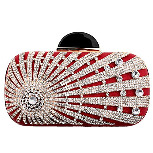 Prom Crystal Bag Handbag Evening Black Women's Pouch Purse Party Beautiful Clutch Glitter Red Flada Rhinestone Sparkling Clutch Ox5Swwq