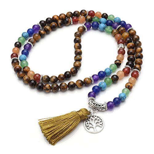Jovivi 6mm Natural 7 Chakra Healing Crystal Gemstone Buddhist Prayer 108 Beads Tibetan Mala Bracelet Necklace by Jovivi (Image #4)
