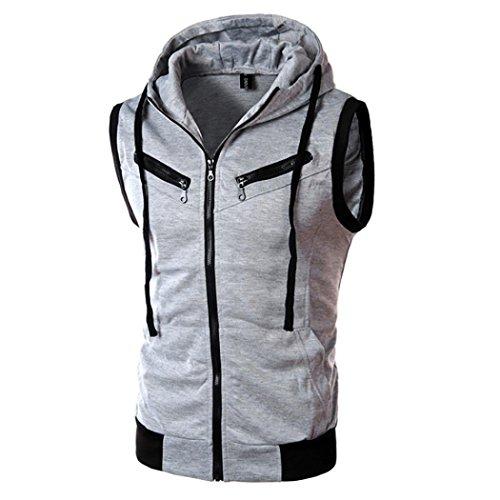 kaifongfu Men's Top,Men Pure Color Zip Hooded Top Short Sleeve T-Shirt (Gray,L) ()