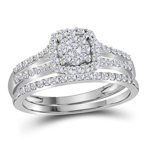 10K White Gold Bridal Cluster Halo Real Diamond Engagement Wedding Ring Set 1/2 CT - 10k Gold Cluster Ring