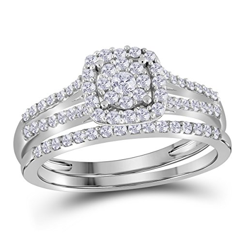 10K White Gold Bridal Cluster Halo Real Diamond Engagement Wedding Ring Set 1/2 CT (I1-I2 clarity; G-H color)