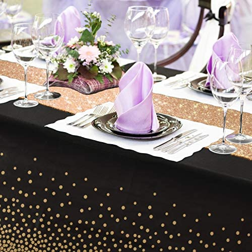 IFAONDECO Black Gold Tablecloth, 2 Pack - 12x108inch Sequins Table Runners and 54x108inch Plastic Table Cloths for Black Gold Party Decorations Thanksgiving Christmas Wedding Anniversary