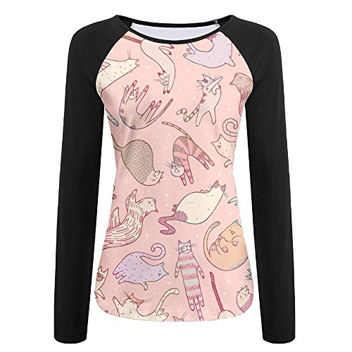 cbb9b74c Womens Cat Family Tree Print Long Sleeves Raglan T-Shirt Outdoor & Home  Quick-drying Long Sleeves Sports Shirts Size Large - Buy Online in Oman.