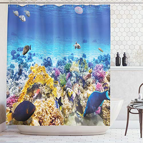 Ambesonne Ocean Decor Shower Curtain, Underwater Sea World Scene with Goldfish Starfish Jellyfish Depth Diving Concept, Fabric Bathroom Decor Set with Hooks, 75 Inches Long, Turquoise