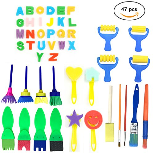 47 Pieces Sponge Painting Brushes Kit PERTTY Kids Art & Craft Kids Painting Kits by PERTTY