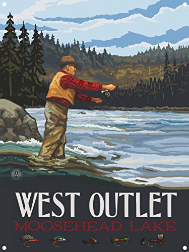 West Outlet Moosehead Lake Maine Fly Fisherman Stream Hills Metal Art Print by Paul A. Lanquist (9