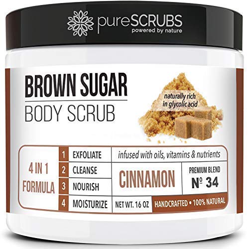 Premium BROWN SUGAR Body Scrub Exfoliating Set - Large 16oz CINNAMON SCRUB For Face & Body,Infused Organic Essential Oils & Nutrients + FREE Wooden Stirring Spoon, Loofah & Mini Exfoliating Bar Soap