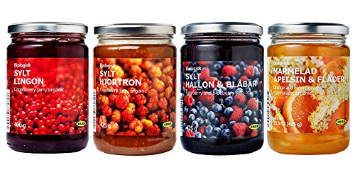 Ikea Organic Jam Bundle - Includes Total 4 Preserves - 1 Lingonberry Organic Preserve, 1 Raspberry & blueberry organic jam, 1 Cloudberry jam and 1 Orange-elderflower organic marmalade by IKEA