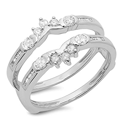 0.50 Carat (ctw) 14K Gold Round Diamond Ladies Anniversary Wedding Enhancer Guard Double Ring 1/2 CT