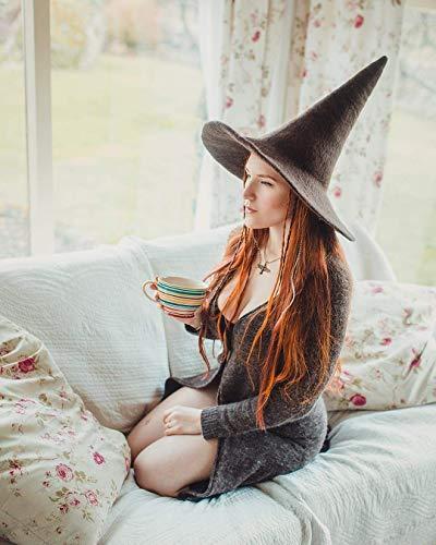 Sombrero de bruja marron de lana dark wicca halloween disfraz ...