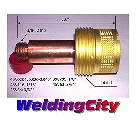 18 and 26 Series in Lincoln Miller ESAB Weldcraft CK Everlast 0.020-0.040 for TIG Welding Torch 17 WeldingCity 2-pk Large Gas Lens Collet Body 45V0204