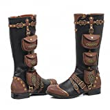 Ellie 181-SILAS Womens Sexy Comfortable 1 Inch Womens Steam Punk Boot, Blk, Size - 8