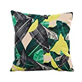 Pgojuni Flowers Grass Pattern Cushion Cover Throw Pillow Cover Accent Cushion Cover Square Pillow Case for Sofa/Car/Bed Home Decor 1pc (A)