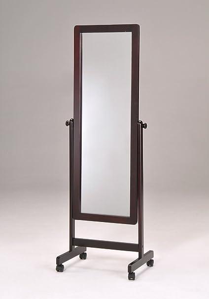 Amazon.com: Dark Walnut Wooden Cheval Floor Mirror with Wheels: Home ...