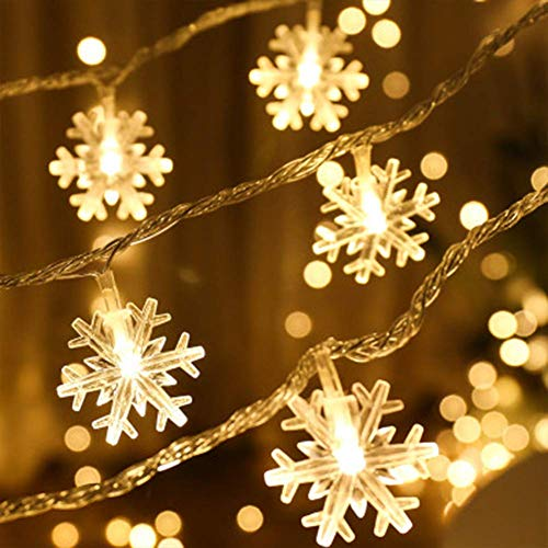 chengzeyi 32ft/80LED Snowflake Decoration String Light Battery Operated Warm White Waterproof House Decorative Fairy Twinkle Lights for Home Garden Wedding Church Birthday Festival Party -