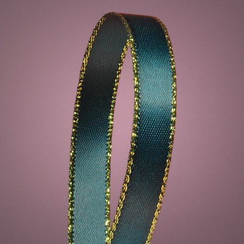 Hunter Green Satin Ribbon with Gold Edges, 3/8