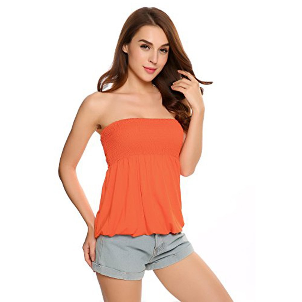 Women's Tube Top, Strapless Stretchy Pleated Tube Sexy Summer Ruched Blouse(XL,Orange)
