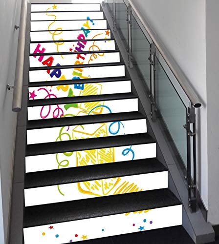 Stair Stickers Wall Stickers,13 PCS Self-Adhesive,Birthday Decorations,Surprise in a Box Doodle Style Cheerful Spirals Confetti and Stars,Multicolor,Stair Riser Decal for Living Room, Hall, Kids Room
