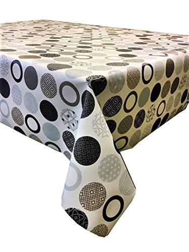 6 Seater Size by linen702 200 x 137cm vinyl tablecloth 2 metres 72 beige polka dot wipe clean textile backed VINYL TABLE CLOTH