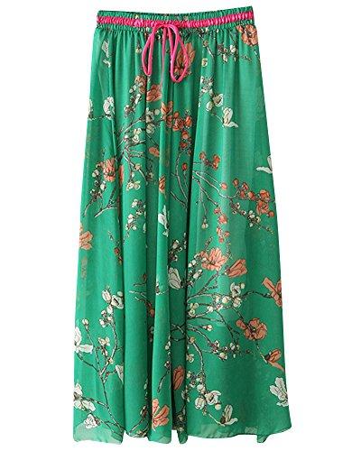 Clair Impression Vert ZhuiKunA 2 Mousseline Pendule Boho Plage Maxi Plisse Grand Fleurs Femme Jupe Pn4ng7