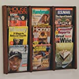 DMD Literature Display, 9 Pocket, Solid Oak and Acrylic Wall Mount Rack, Mahogany Wood Finish