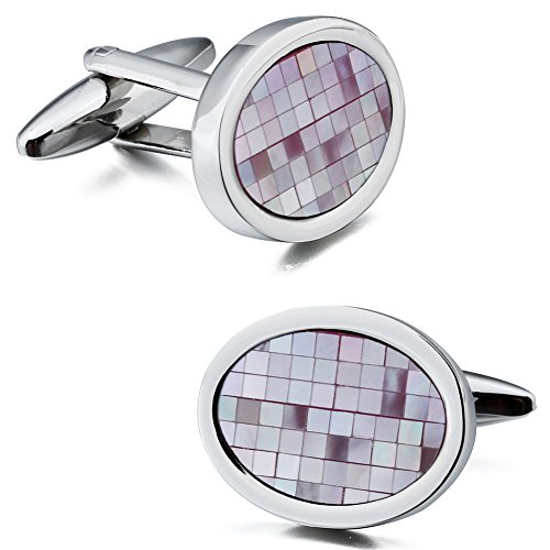 HAWSON Vintage Mother of Pearl Silver Tone Cufflinks for Men Shirt Accessories ()