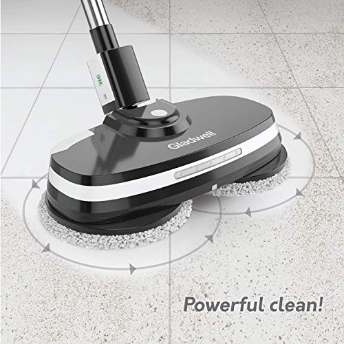 Gladwell Cordless Electric Mop - 3 In 1 Spinner, Scrubber, Waxer Quiet, Powerful Cleaner Spin Scrubber & Buffer, Polisher For Hard wood, Tile, Vinyl, Marble, Laminate Floor - 1 Year Warranty - Black by Gladwell (Image #2)