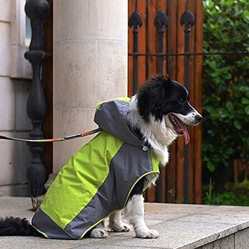 Umora 犬用レインコート カッパ 雨具 通気 帽子付 散歩用 小型犬 中型犬 大型犬(グリーン+グレー XS)
