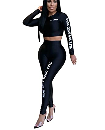 0082ff994f57 Mycherish Women s Sexy Long Sleeve Letter Print Crop Tops Bodycon Long  Pants Set Workout 2 Piece