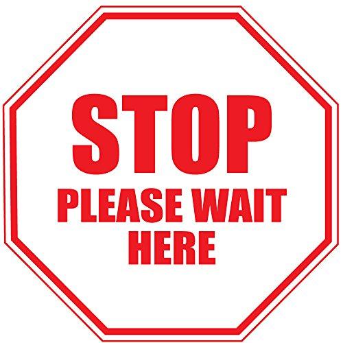 Stop Please Wait Here Red Anti-Slip Floor Sticker Decal 17 in longest side