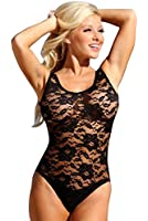 UjENA Black Sheer French Lace 1-PC Swimsuit