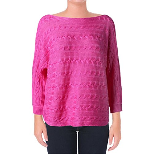Lauren Ralph Lauren Womens Cable Knit 3/4 Sleeves Pullover Sweater Pink XL