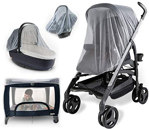 Baby Mosquito Net for Strollers, Carriers, Car Seats, Cradles. Fits Most PacknPlays, Cribs, Bassinets & Playpens. 44 x 48 Inch, Made of White, Portable & Durable Baby Insect Netting