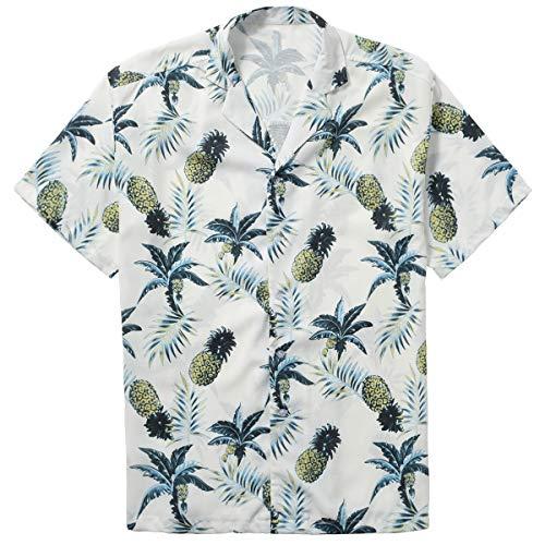 ZIOLOMA Men's Short Sleeve Tropical Pineapple Shirt Beach Hawaiian Shirt White