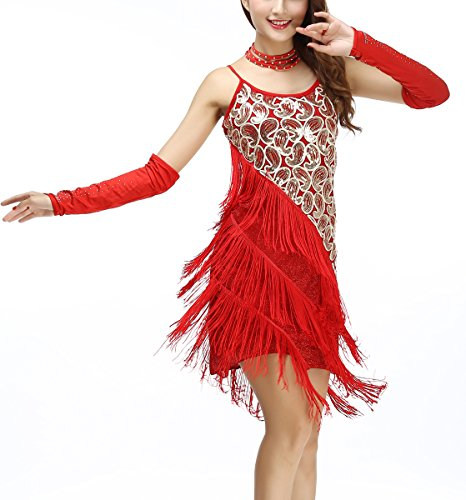 Paisley Vintage Costumes (1920 Style Vintage Beaded Art Deco Flapper Dresses Costumes Modern , Red/gold, 0/2)