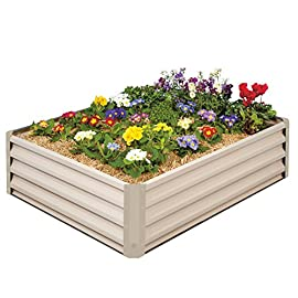 "Stratco Raised Garden Bed 6 Stratco Raised Garden Beds are 46"" long x 35"" wide x 12"" high and hold 11 cu ft. of soil Heavy Duty Metal Construction - Stratco Raised Garden Bed Planters feature high gloss color steel sheets in either a Beige or Slate Grey Quick Easy DIY install with no tools - Light enough to move around on your own"