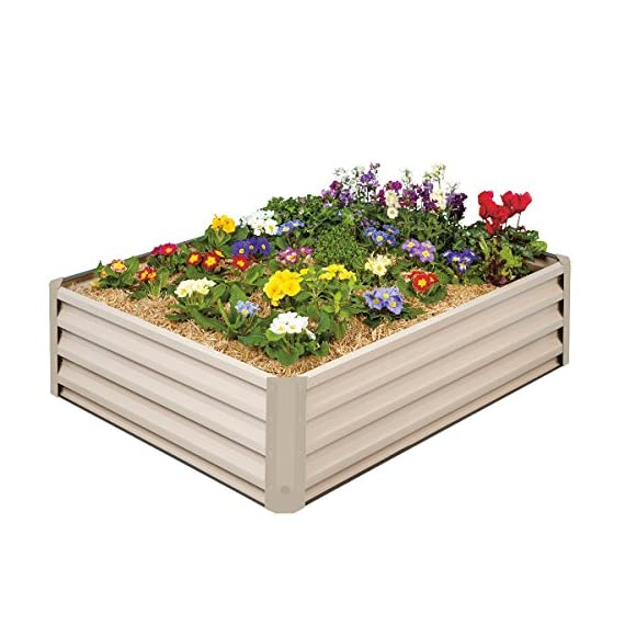 "Stratco Raised Garden Bed - 46"" L x 35"" W x 12"" H -Beige - Metal Construction for Easy Cleaning and Will not Twist or Rot 1 Stratco Raised Garden Beds are 46"" long x 35"" wide x 12"" high and hold 11 cu ft. of soil Heavy Duty Metal Construction - Stratco Raised Garden Bed Planters feature high gloss color steel sheets in either a Beige or Slate Grey Quick Easy DIY install with no tools - Light enough to move around on your own"