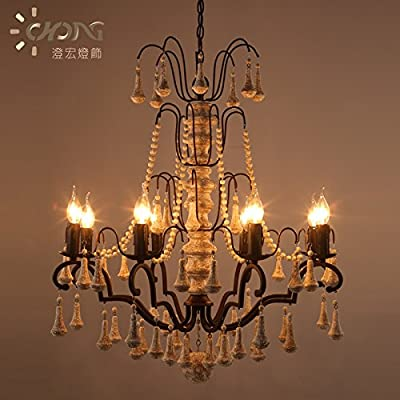 ZHY Iron Wood Industrial Loft Retro Rope Pendant Lights Iron Vintage Chandeliers Classic European Style Lighting Fixtures