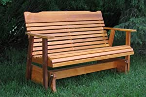 4' Cedar Porch Glider W/stained Finish, Amish Crafted by Kilmer Creek