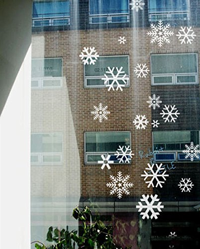 DNVEN from 3 inches x 5 inches Pack of 68 pcs Various White Christmas Snow Flakes Snowflakes Wall Decals Vinyl Removable Wall Stickers for Bedrooms Kids Rooms Windows Glasses Christmas Party