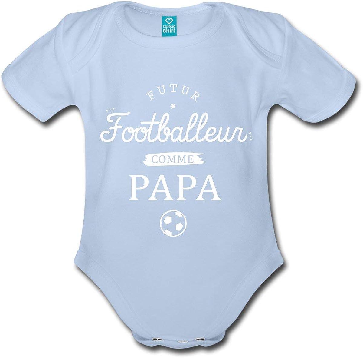 Spreadshirt Futur Footballeur comme Papa Body B/éb/é Bio Manches Courtes