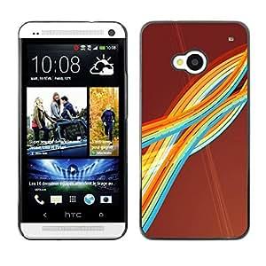 TECHCASE**Cubierta de la caja de protección la piel dura para el ** HTC One M7 ** Colorful Rainbow Stripes Art Waves Lines Modern