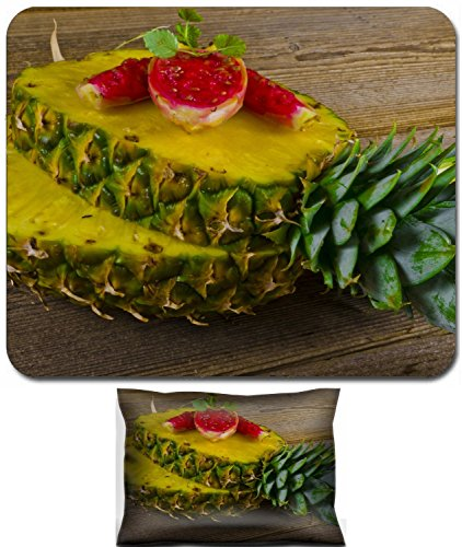 (Liili Mouse Wrist Rest and Small Mousepad Set, 2pc Wrist Support Exotic Salad With Pineapple Figs IMAGE ID 10535903)